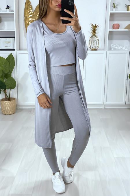 Long gray ribbed waistcoat