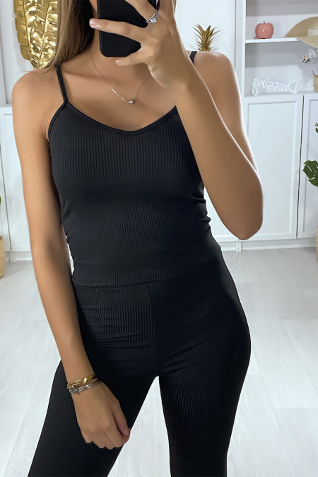 Black tank top with ribbed material