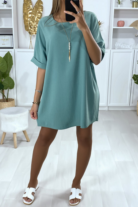 Loose tunic dress in aqua green with necklace
