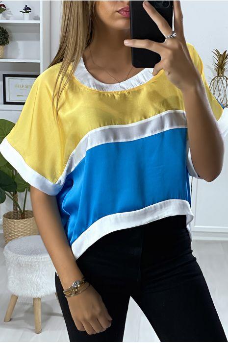 Losse blouse met meerdere stukken multi-color turkoois en geel
