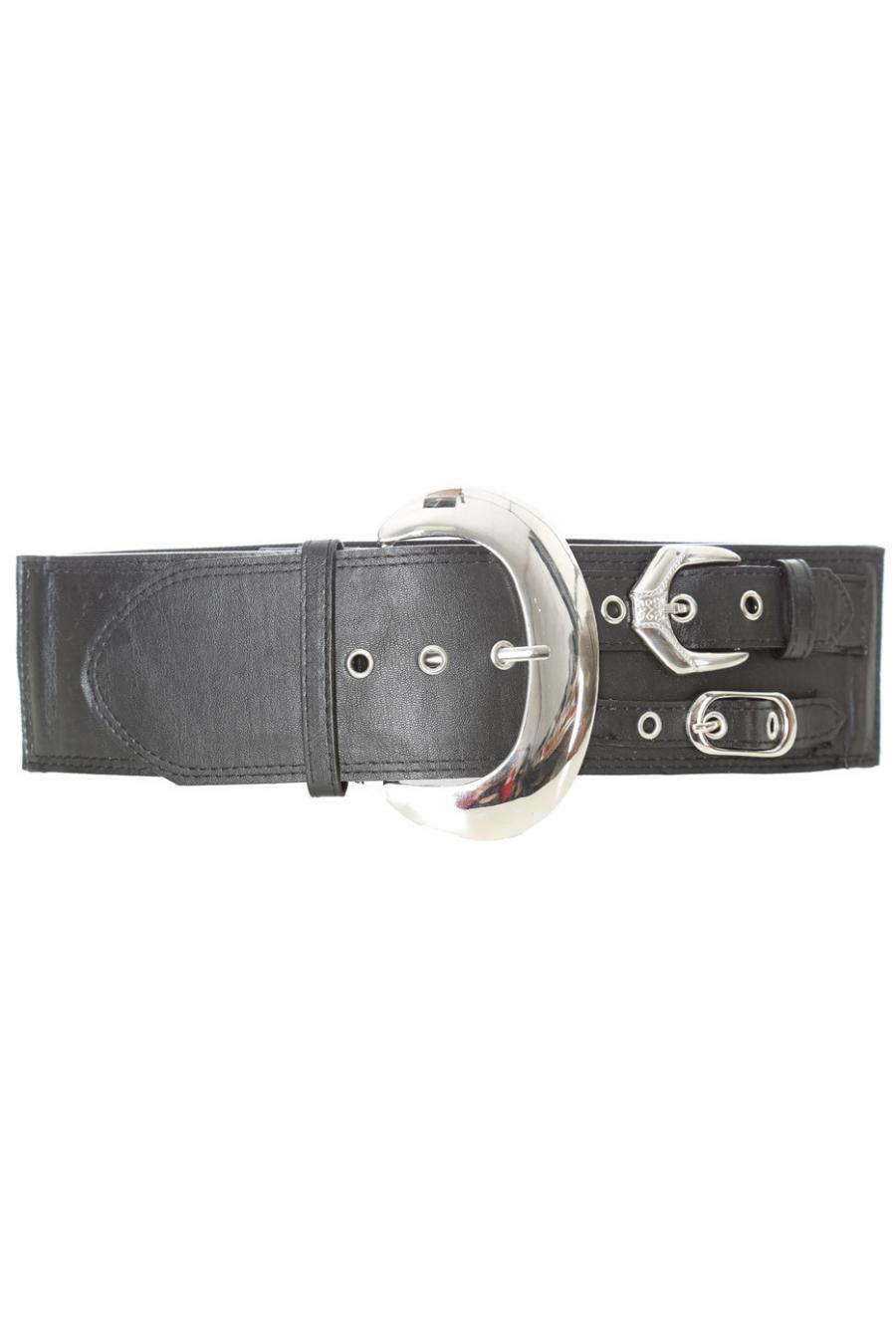 Zwarte elastische riem, grote ronde gesp. SG-0306