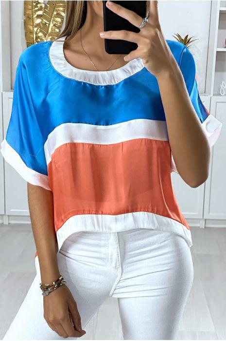 Losse blouse met verschillende stukken in blauw en koraal meerkleurig