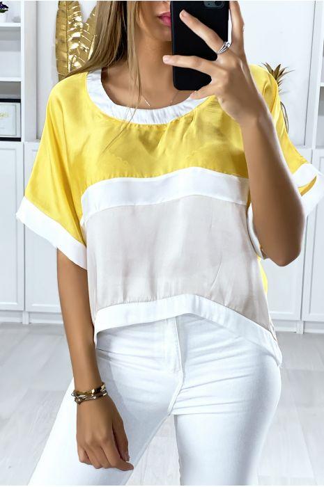 Losse blouse met verschillende beige en gele meerkleurige stukken