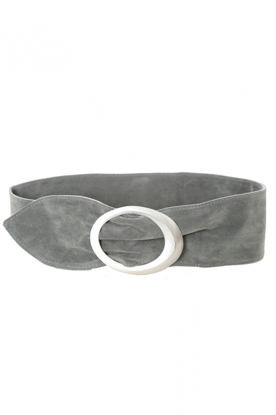 Ceinture grise effet daim à boucle ovale. SG-0481