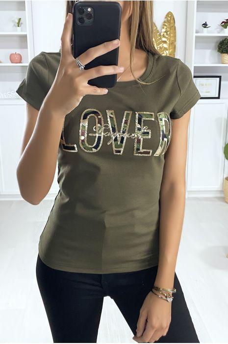 """Kaki camouflage """"lover"""" t-shirt"""