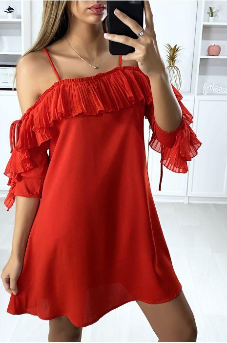 Rode ruche jurk met van de schouders