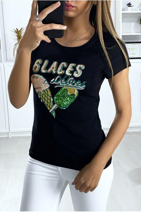 Zwart t-shirt met print van lovertjes
