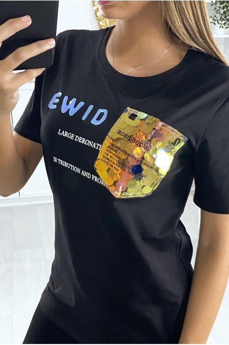 T-shirt noir avec écriture et motif en paillette