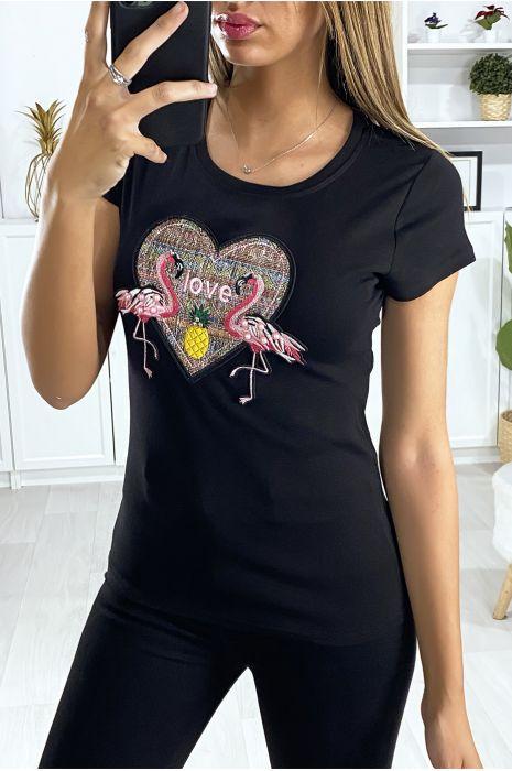 Zwart T-shirt met geborduurd motief op de voorzijde