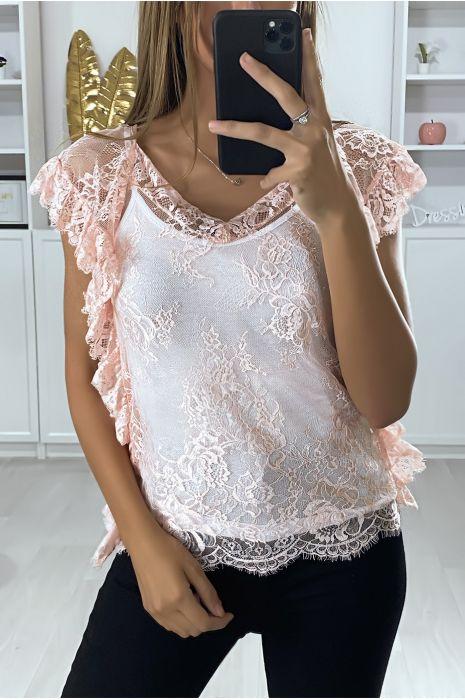 Roze kanten blouse met ruche