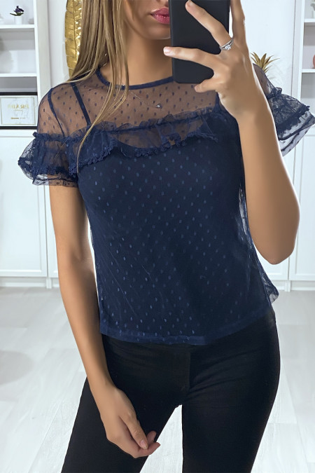 Navy chiffon top with lace and frill