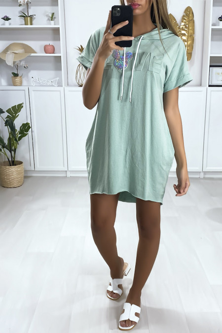 Water green hooded sweatshirt dress with pockets and curved Love writings