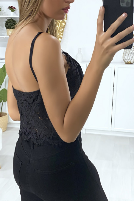 Black lace tank top with removable strap
