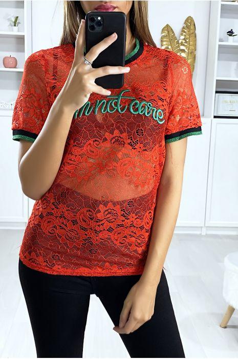 Rood kanten T-shirt met geborduurd schrift