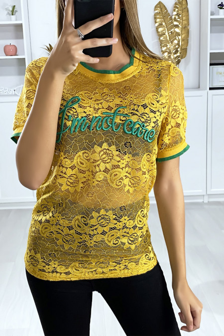 Mustard lace T-shirt with embroidered script