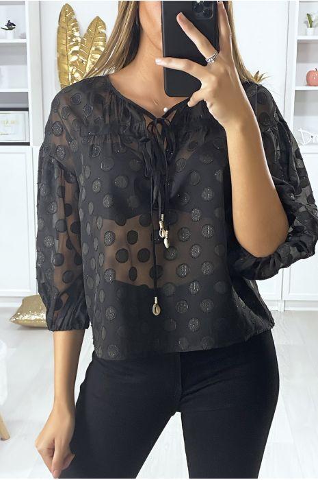 Zwarte blouse met aan de voorkant kant en glanzend patroon