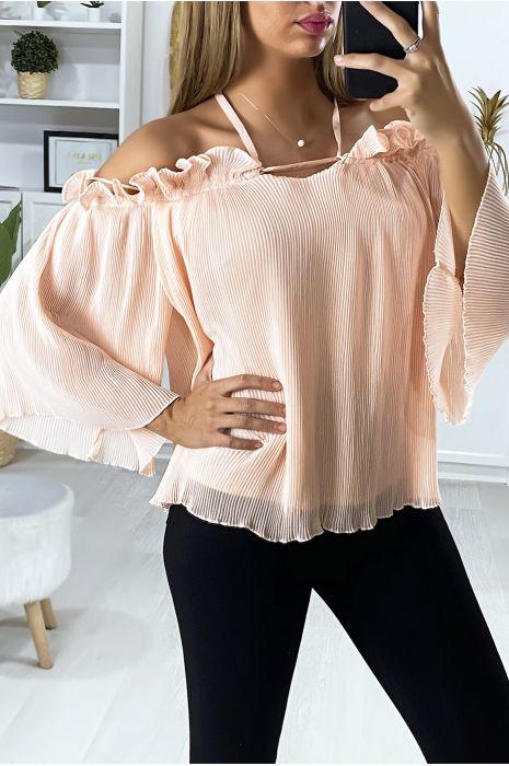 Roze geplooide blouse met boothals en ruches