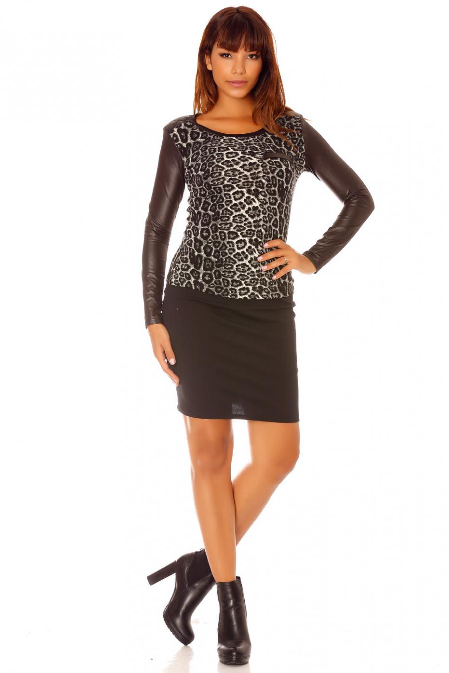 Top gris motifs léopard, bi-matières et manche longue. 2530