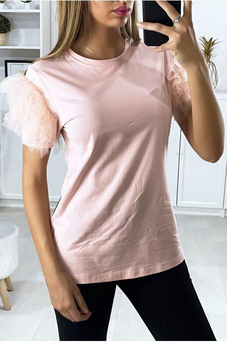 Roze t-shirt met mouwen van tule met stroken