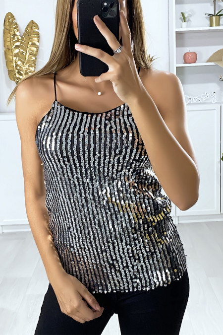 Silver and glitter tank top with thin straps