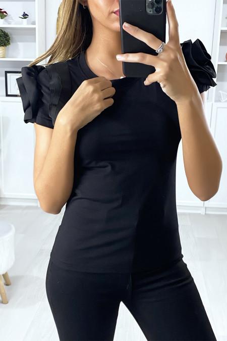 Zwart katoenen t-shirt met volantmouwen
