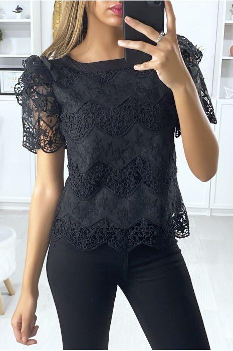 Zwarte kanten blouse met pofmouwen met ruches en strik