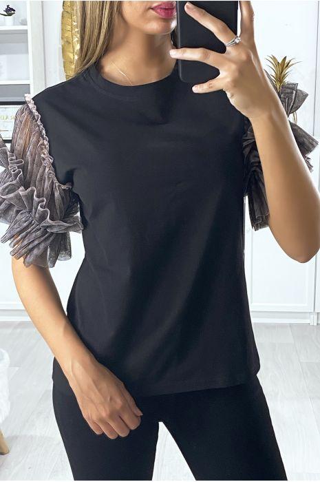 T-shirt noir avec manches en tulle taupe