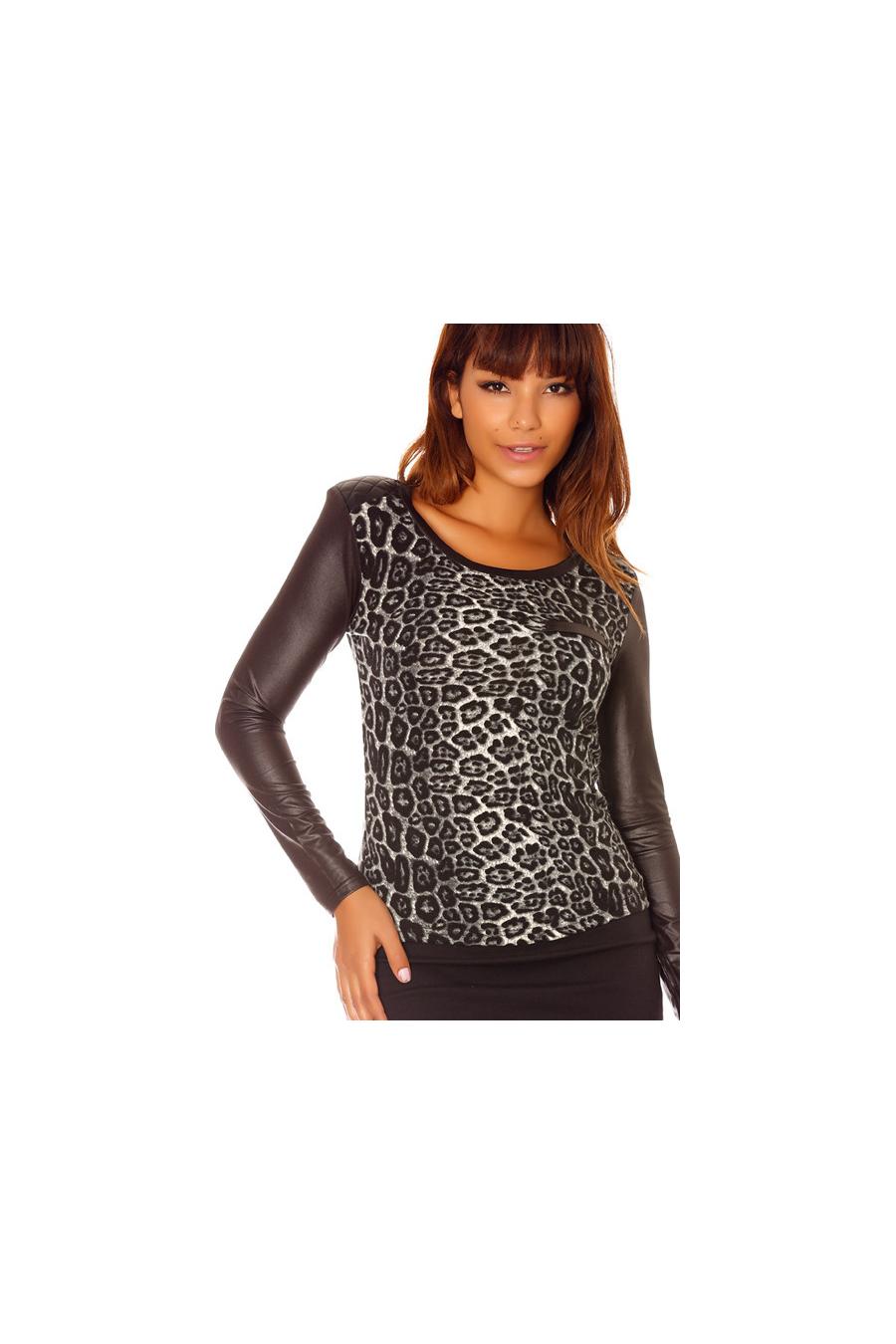 Grijze top met luipaardprint, bi-materiaal en lange mouw. 2530