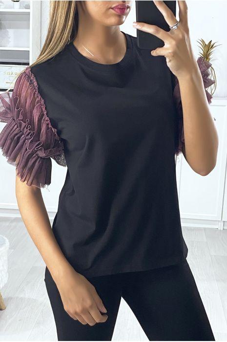 T-shirt noir avec manches en tulle lila