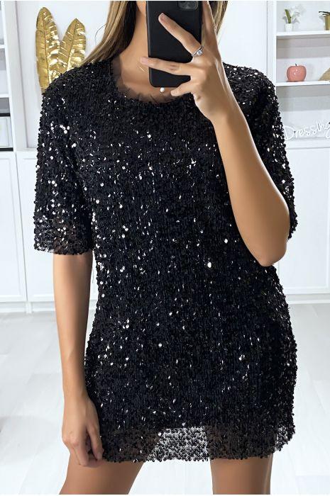 Robe de soirée noir pailleté et doublé avec bouton au dos