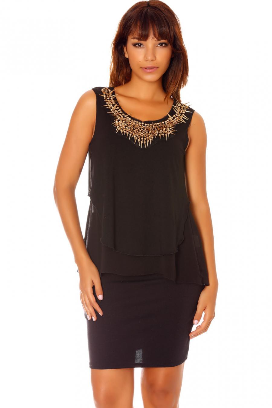 Top bi-matiéres noir, avec collier. Femme MC1402