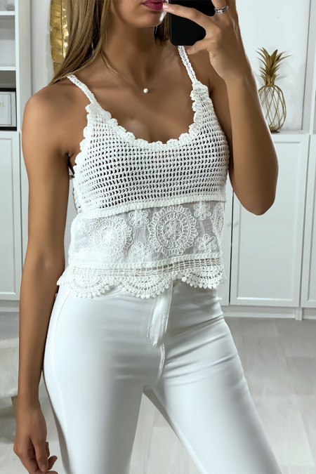 Very chic white embroidery and lace tank top