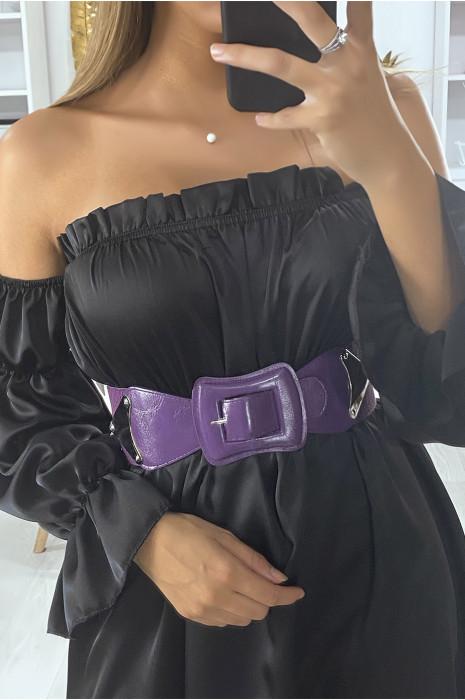 Lila riem met elastiek aan de achterkant