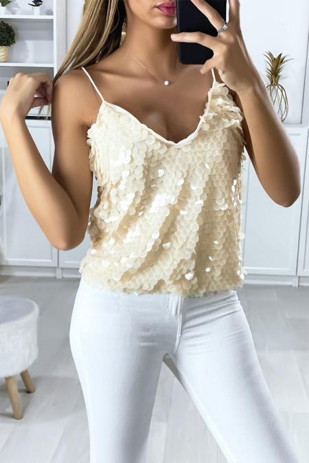 Fully glittery beige thin strap tank top