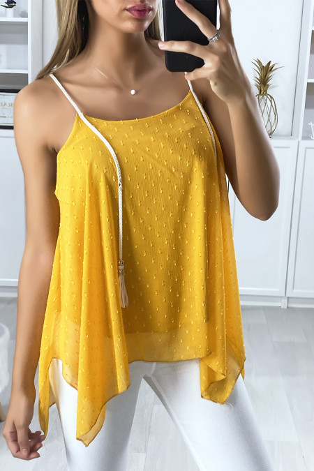 Mustard lined tank top with cord straps