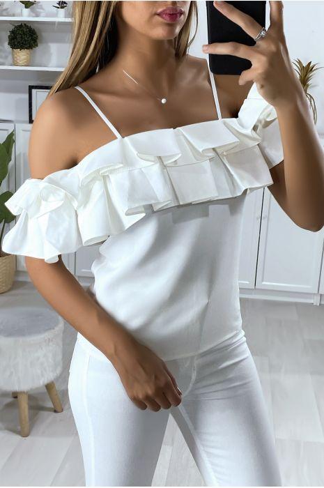 Witte blouse met boothals en plooi-vormige ruche