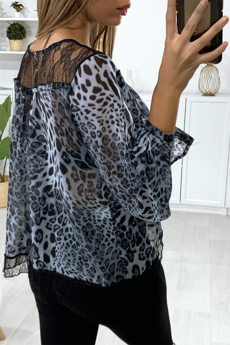 Gray leopard print blouse with lace at the bust