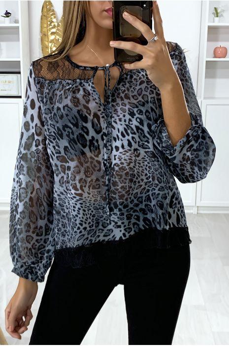 Blouse motif leopard gris avec dentelle au buste
