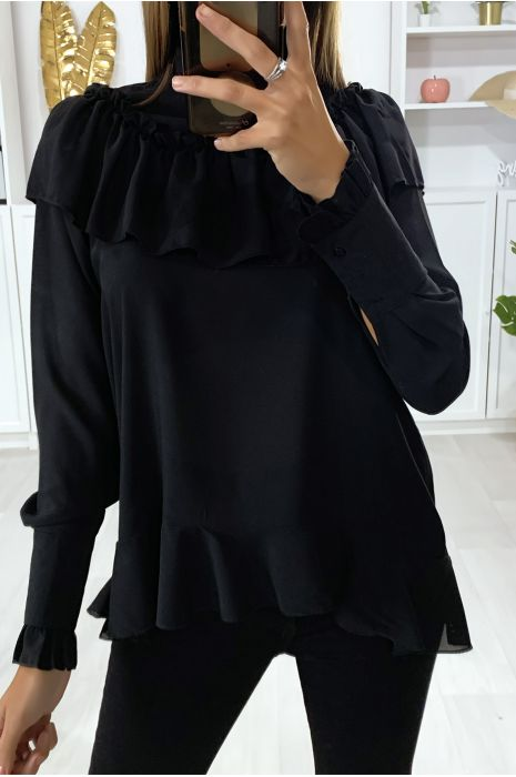 Zwarte blouse met ruche en strik bij de kraag