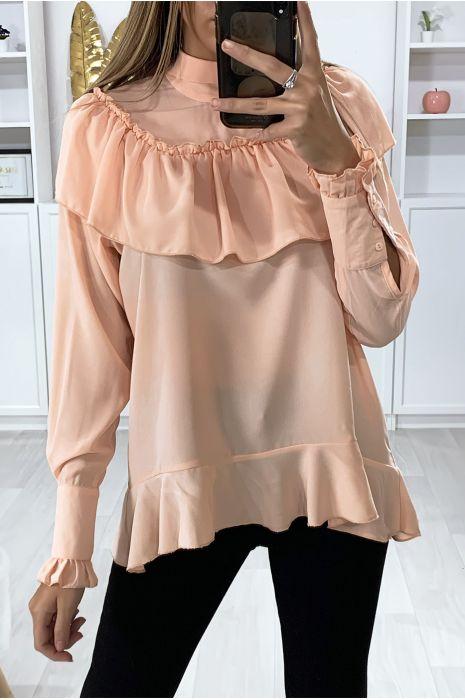 Roze blouse met ruche en strik bij de kraag