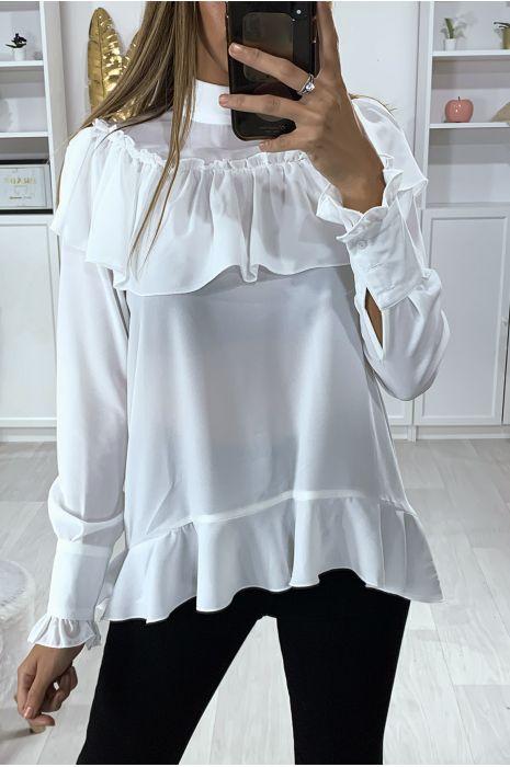 Witte blouse met ruche en strik bij de kraag