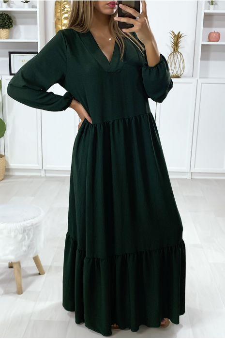 Long Green V Neck Dress With Flounce Loose And Long Dress Very Trendy