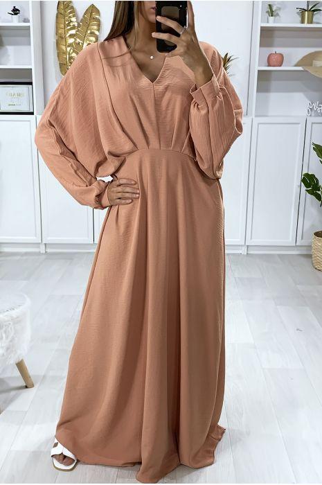 Longue Robe Rose Manche Chauve Souris Avec Plis A La Taille