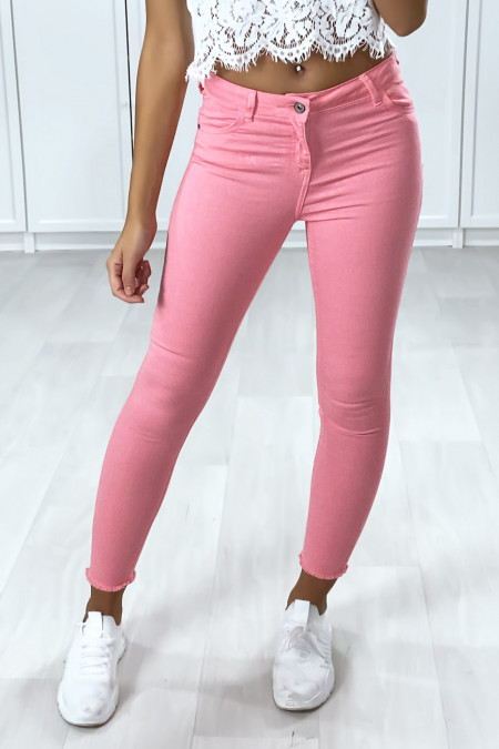 Pink slim jeans with pockets