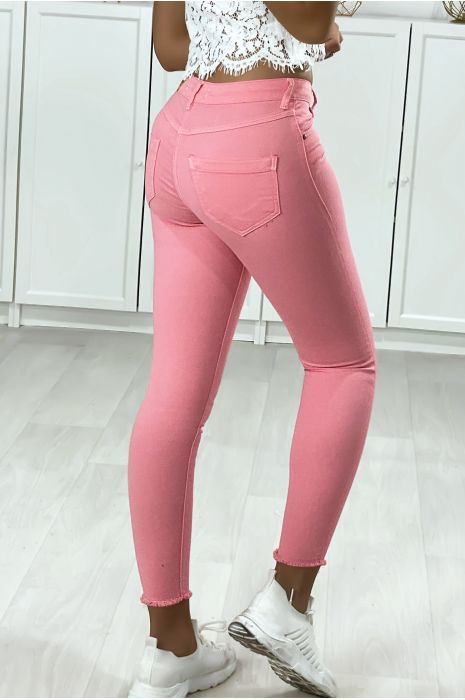 Jeans slim rose avec poches