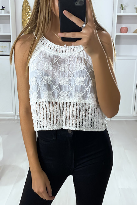 White cotton tank top with embroidery and lace