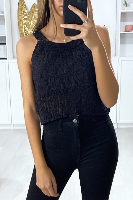 Black cotton tank top with embroidery and lace