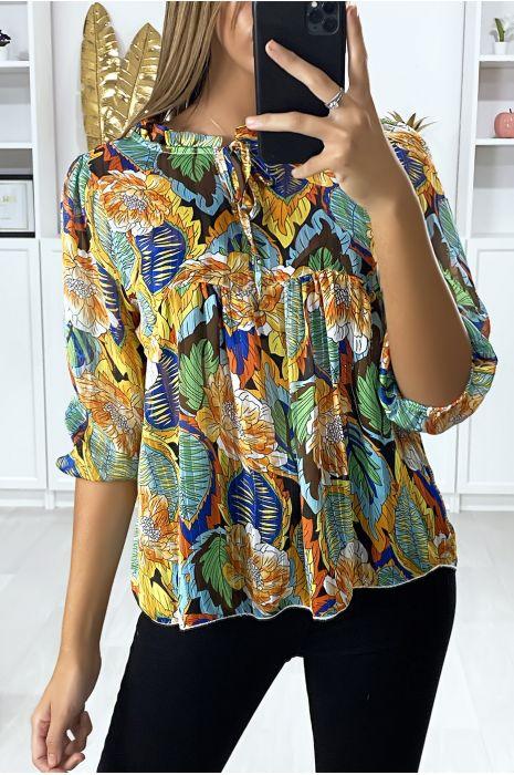 Mosterd print blouse met kant bij de kraag en gouddraad