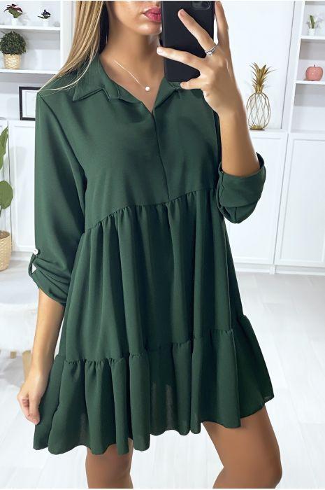 Robe tunique à volant vert avec col chemise et manche 3/4