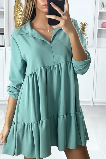 Water green ruffle tunic dress with shirt collar and 3/4 sleeve